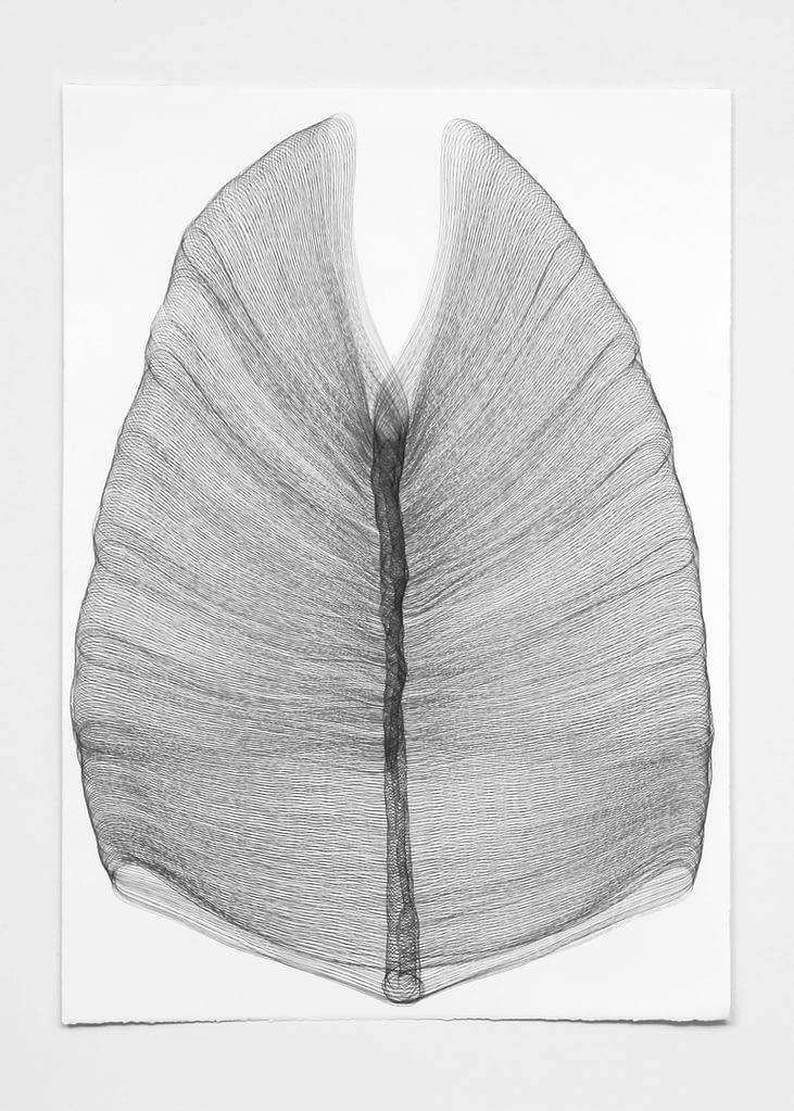 """Gebannt"", 2009, 5-teilig, Bleistift auf Büttenpapier, 105 x 75 cm, Blatt 5"