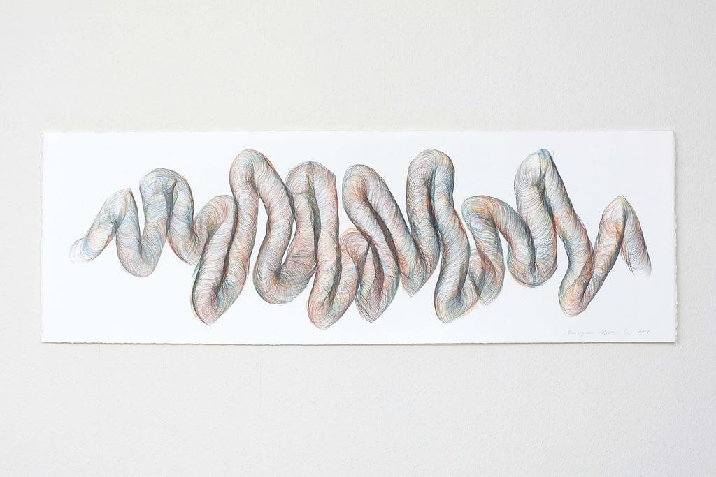 """Aus der Werkgruppe """"Indirekt"""", 2018, Farbstift und Bleistift auf Büttenpapier, 40 x 120 cm"""